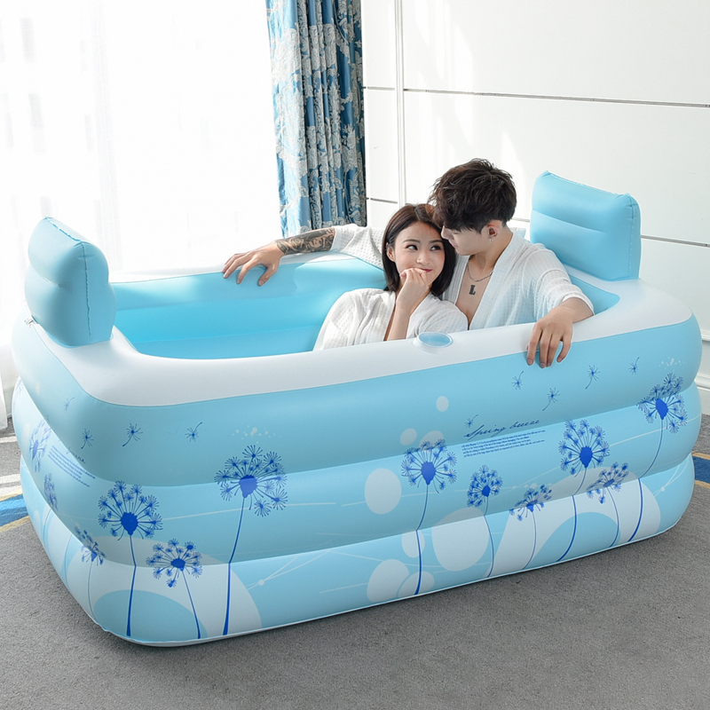 Household Adult Inflatable Bath Barrel Fold Thicken Warm Plastic Bath with Cover/Pillow Safety Bathtub Shower For Double Persons