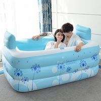 Household Adult Inflatable Bath Barrel Bathtub Fold Thicken Warm Plastic Bath Safety Bathtub Shower Pillow For Double Persons