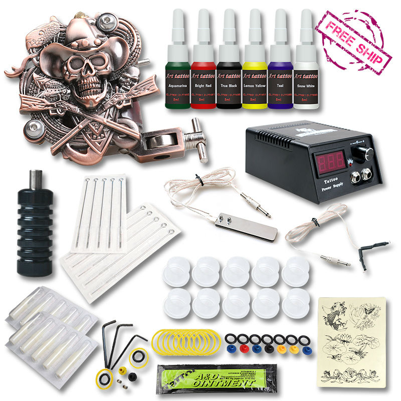Beginner Tattoo Kit  1 Relief  Tattoo Machine Gun  6 color Inks Tattoo Set Tattoo Power Supply beginner tattoo kit 2 machine gun with lcd tattoo power inks supply free shippiing