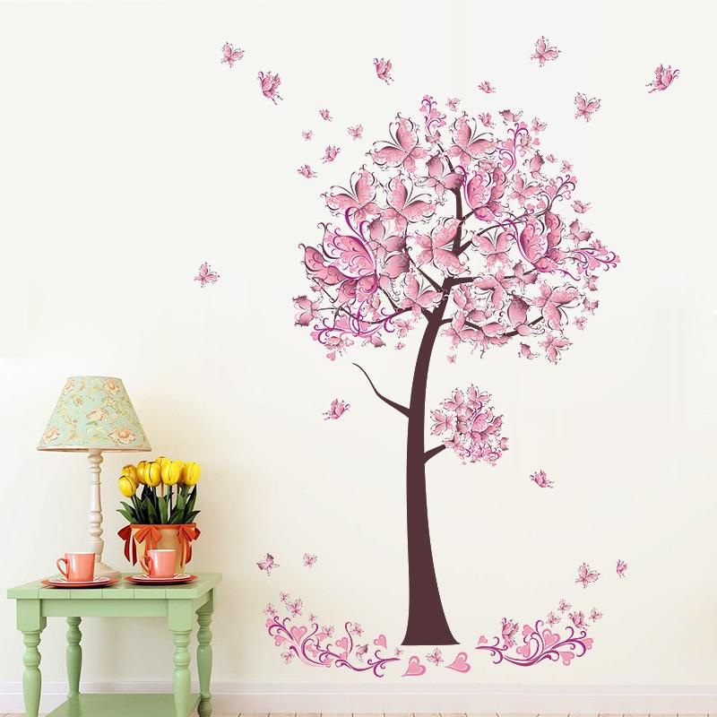 Roze vlinder bloem Boom Muurstickers Decals Meisjes Vrouwen Bloem - Huisdecoratie