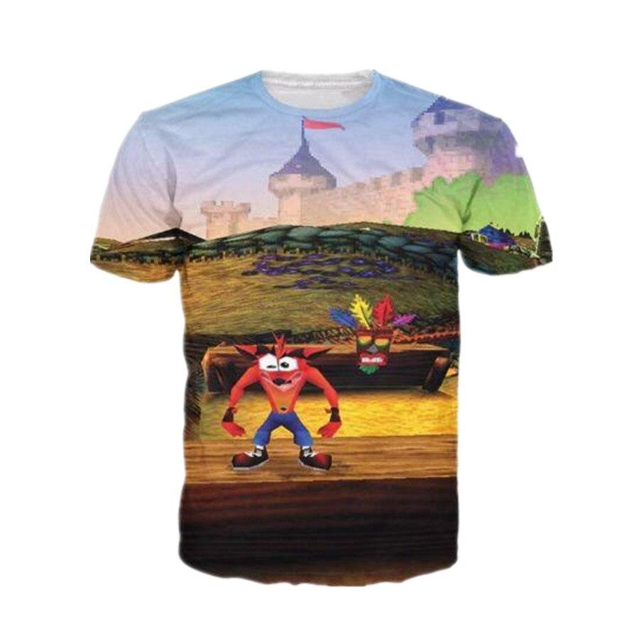 Sondirane New Video Game T-Shirt Men/Women 3D Retro Crash Bandicoot Print Short Sleeve Tees Fashion Design Crewneck Tops Tees