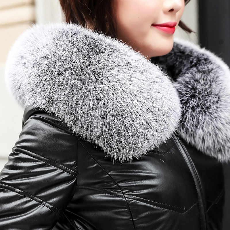 Высококачественная зимняя женская куртка-пуховик из овечьей кожи 2019, пальто с капюшоном и большим лисьим меховым воротником, большие размеры, Утепленные длинные пальто