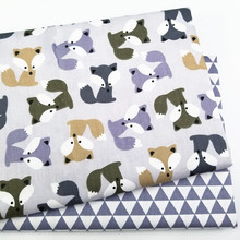 Grey Fox  Cotton Patchwork Cloth Kids Twill Fabric for DIY Sewing Quilting Fat Quarters Material For Baby&Child