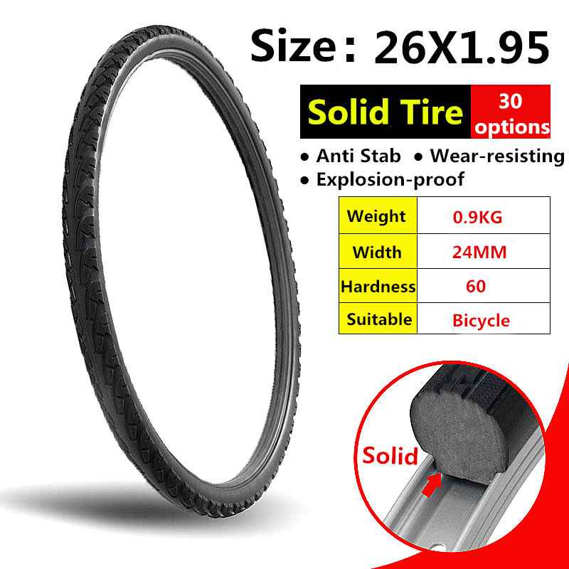 26*1.95 Bicycle Solid Wear-resistant Airless Tire Anti Stab Riding MTB Road Bike Tyre 26 Inch Ever Free Inflatable Tires
