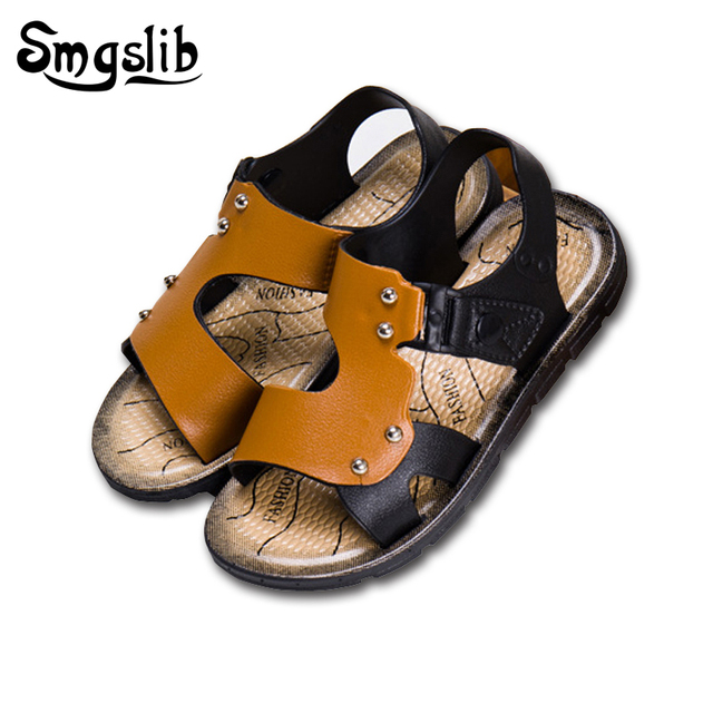 quality design 7f9bd acd9a Toddler Boys sandals 2017 new fashion children leather sandals beach casual  kids summer flat shoes baby gladiator feet sandals