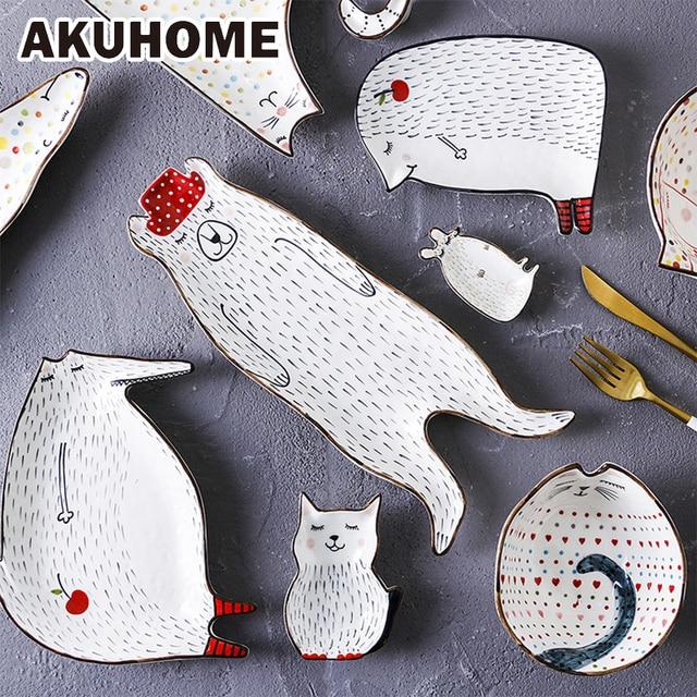 Милые Креативные в мультяшном стиле Керамика поднос для завтрака говядины блюда десерт блюдо для фруктов блюдо для закусок творческих животных блюдо AKUHOME