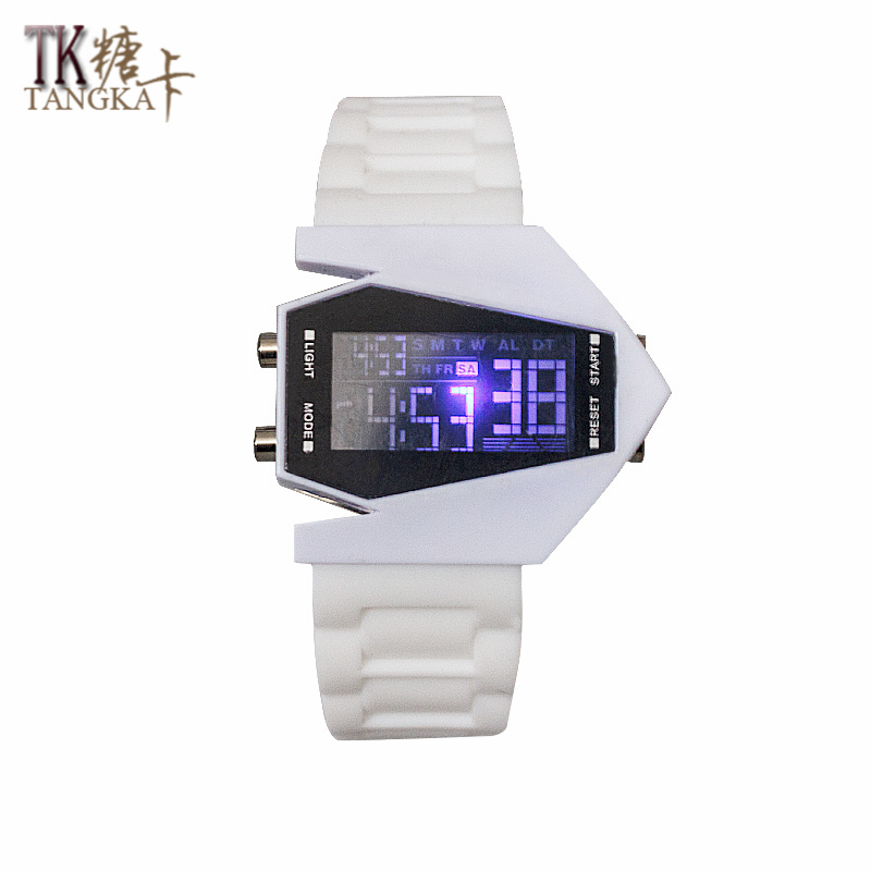 The New Fashionable Men And Women Watches White Aircraft Model Creative Rubber Watch LED Watch Digital Display Strap