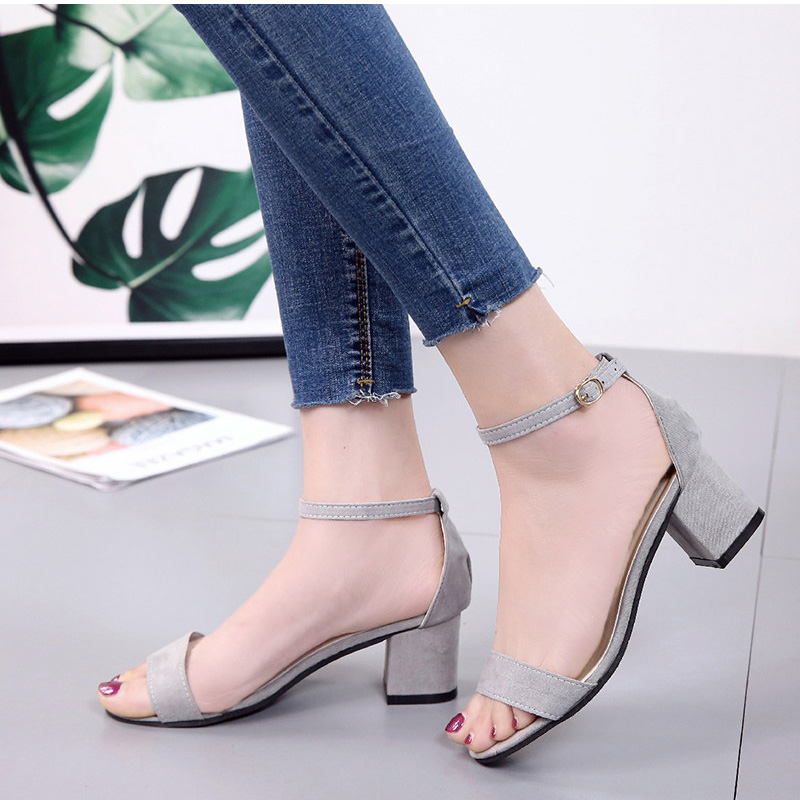 HTB1E23.kljTBKNjSZFuq6z0HFXaU MCCKLE Summer Women Shoes Gladiator Buckle Strap Cover Heel Fashion Chunky Ladies Sandals For Woman Ankle Strap Footwear