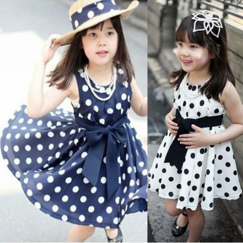 Details about New Polka Dot Kids Girls Dress Clothing Party Bowknot Sleeveless Princess 2016 new polka dot girls summer dress childrens clothes party dresses bowknot sleeveless princess kids baby clothing