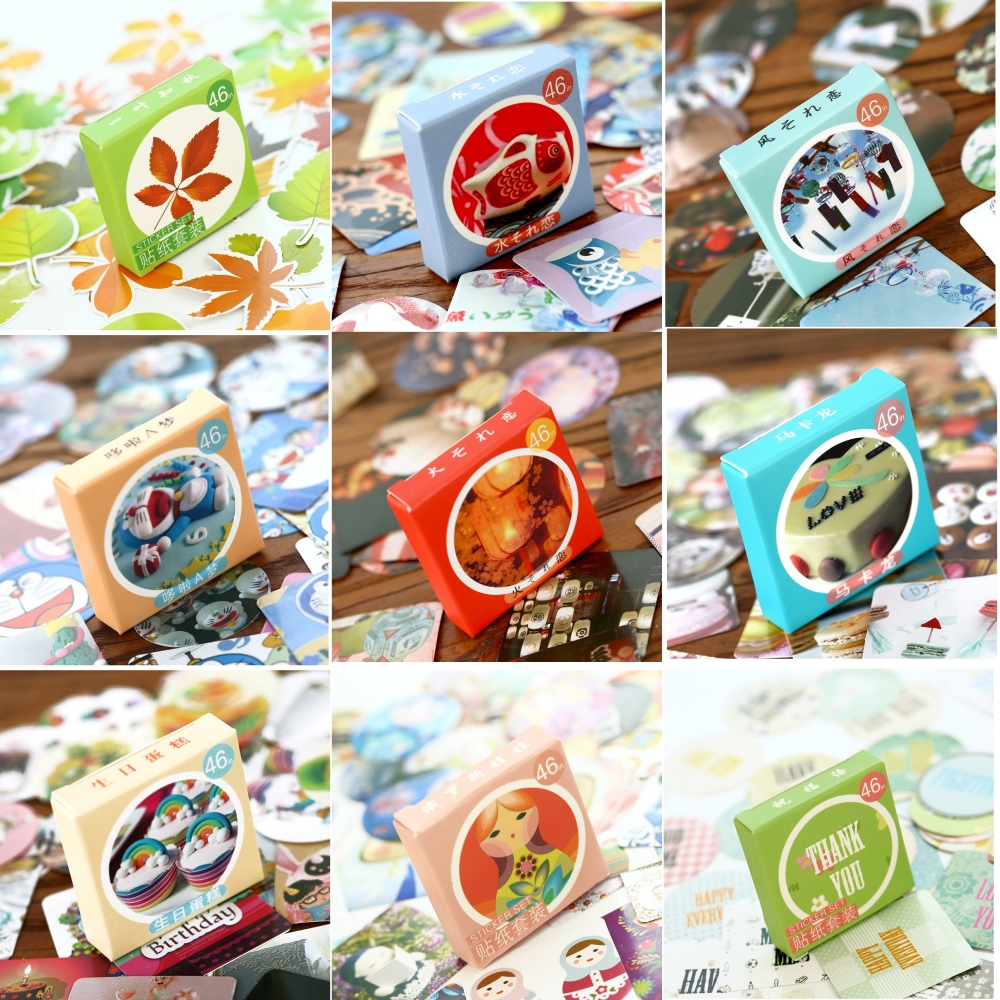 46Pcs/Pack 26 Designs Owl Doraemon Fish Stationery Sticker Stationery Office School Sticky Label 4CM Wash Stickers Gift M0091