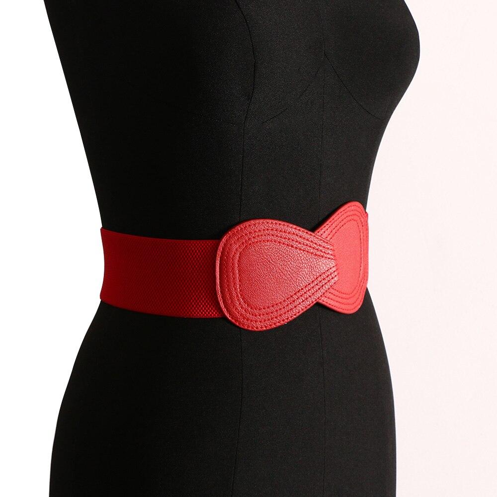 1 Pc Mode Damen Frauen Elastische Künstliche Breite Haken Bowknot Taille HÜfte Weißen Gürtel Stretch Leder Gürtel Gürtel * Usa *