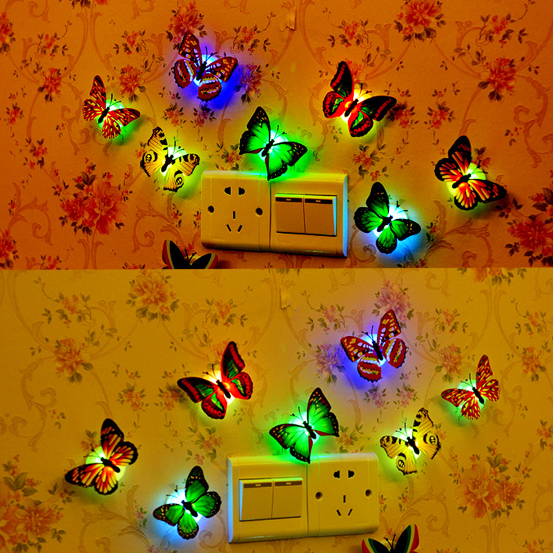 Multi Color Light LED Butterfly Atmosphere Lamp Wall Stickers easy installation night light Party Home Fridge bedroom decor 12pcs 3d butterfly wall sticker fridge magnet home decor art applique