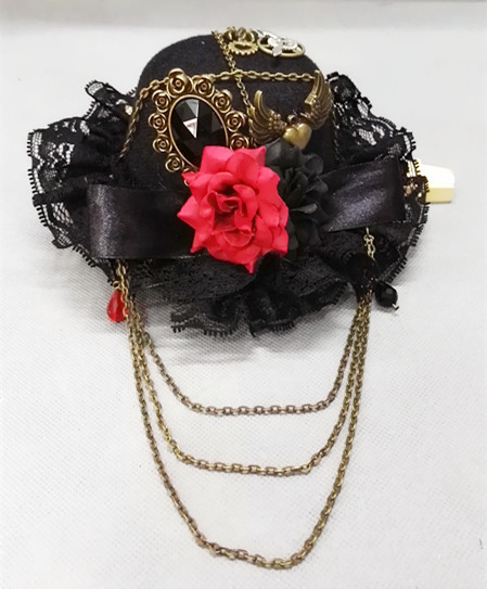 Steampunk Victorian Vintage Gears Fedoras Chain Mini Top Hat Handmade Gothic Hats for Girls Party Halloween Hair Accessories