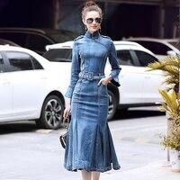 Multiflora Bodycon Denim Dress Women 2018 Wrist Flare Sleeve Mid calf Mermaid Autumn Dress Girls Bleu Formal Dress Women Elegant