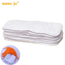 Sunny ju 5 PCS/LOT 3 layers Inserts Microfiber Cotton Soft Baby Nappies Washable Reuseable Baby Cloth Diapers Nappy Brand New()