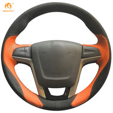 MEWANT Black Suede Orange Leather Car Steering Wheel Cover for MG5 MG 5