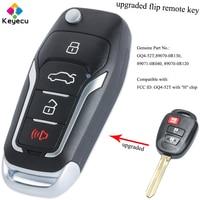 Keyecu atualizado keyless entrada flip chave do carro remoto para 3 botões & h chip fob para toyota rav4 highlander tacoma p/n: GQ4 52T|Chave do carro| |  -