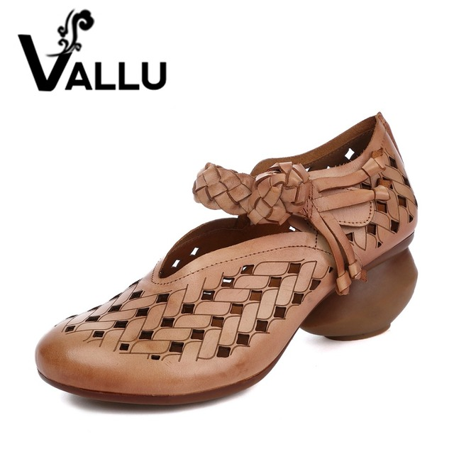 2017 Summer Woman Pumps Genuine Leather High Heel Shoes Woman Shoes Handmade Weaving Strap Fretwork Breathable