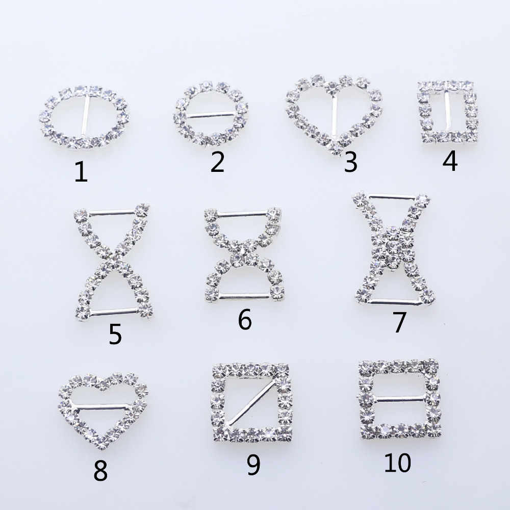 ZMASEY Shoe Buckles Direct Selling 10pcs/lot Factory Price Metal Mix Size Diamond Buckle Sewing Handwork Ribbon Accessory