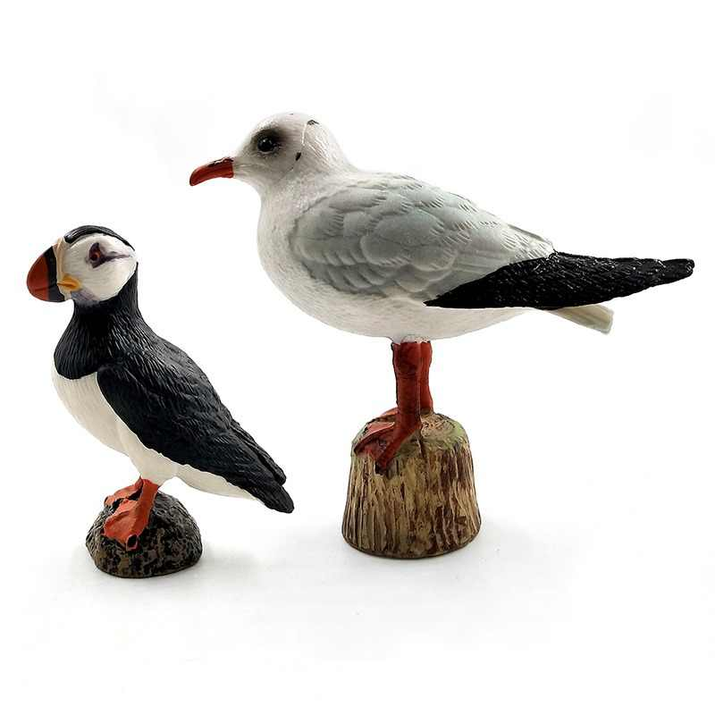 Simulation Animal model Artificial Seagull Puffin Sea bird figure fairy garden plastic Decoration educational toys for children