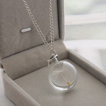 LKO Fashion Real Dandelion Crystal Necklace