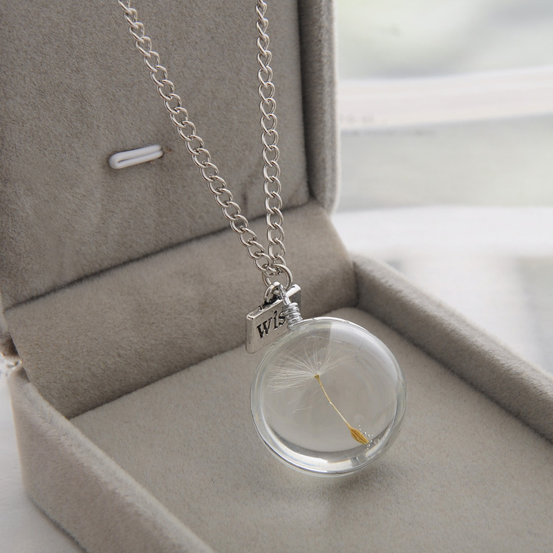 LKO Fashion Necklaces Wish Real Dandelion Crystal Necklace Glass Round Pendants Necklace Silver Chain Choker Necklace For Women