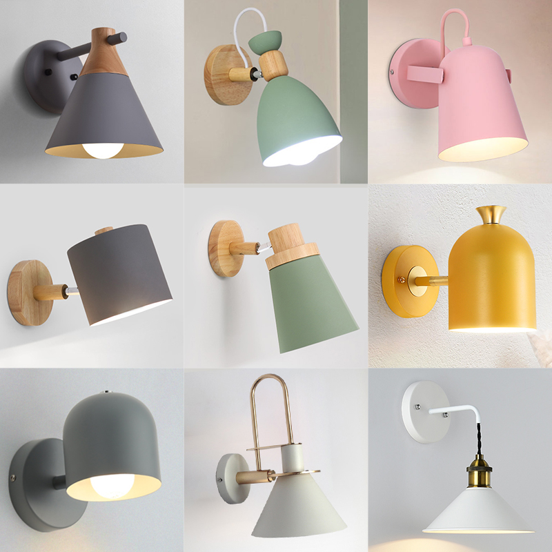 Nordic Wall Lamp Bedside Lamp Iron E27 Bulb Creative living room Aisle Stairs Childrens room Desk Reading bedside Wall LightingNordic Wall Lamp Bedside Lamp Iron E27 Bulb Creative living room Aisle Stairs Childrens room Desk Reading bedside Wall Lighting