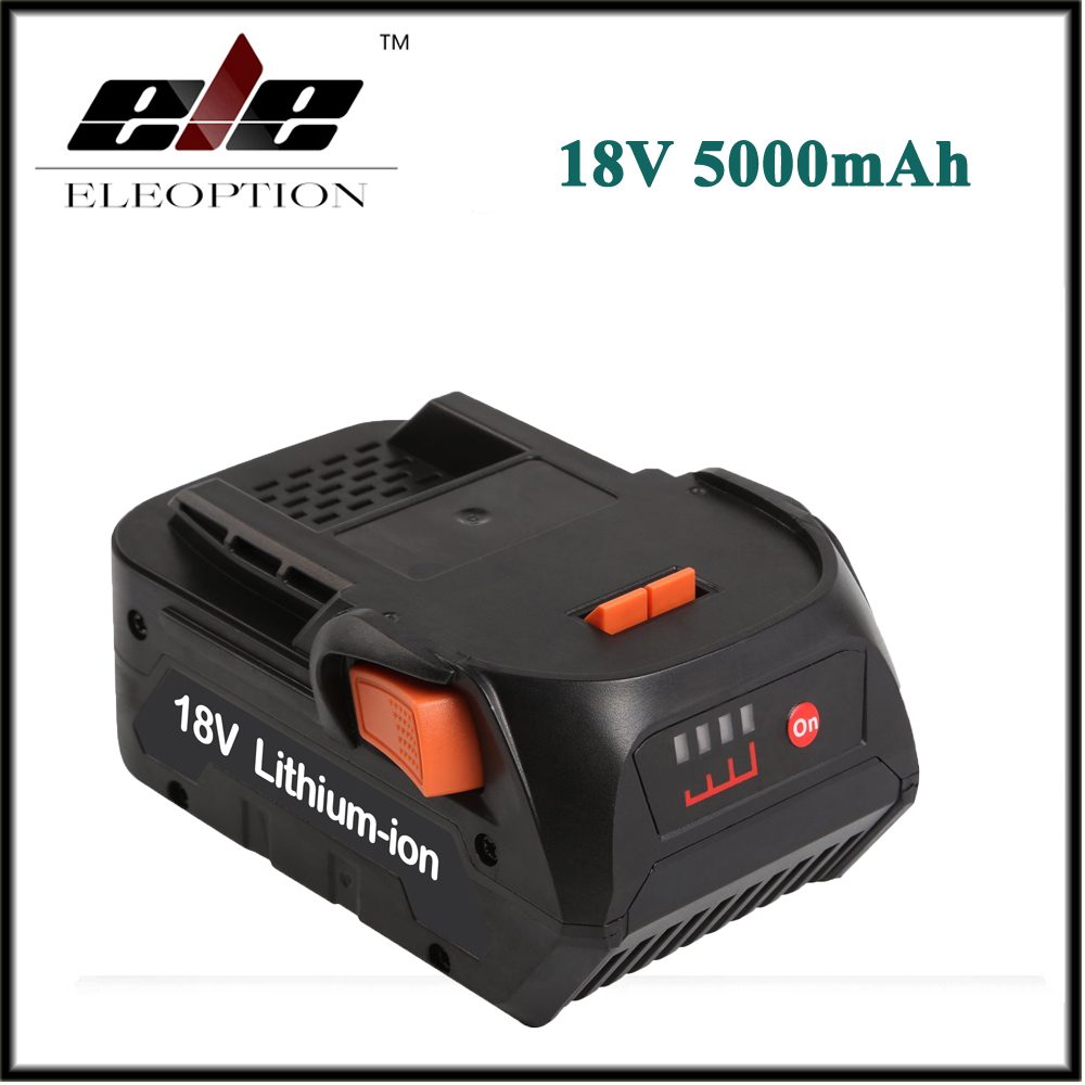 Eleoption 18V 5000mAh Li ion Rechargeable Battery for RIDGID R840083 CS0921 R84008 AC840084 L1830R For AEG