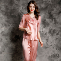 Real Silk Women fashion Pajama Pants Sets half sleeves red v neck with lace embrodecoration Lounge Set full sleeve pajama2pc set