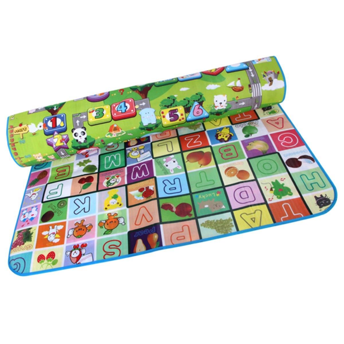 Floor mats target - 200x180cm Doulble Side Baby Play Mats Fruit Alphabet Digital Game Rugs For Children Beach Mat