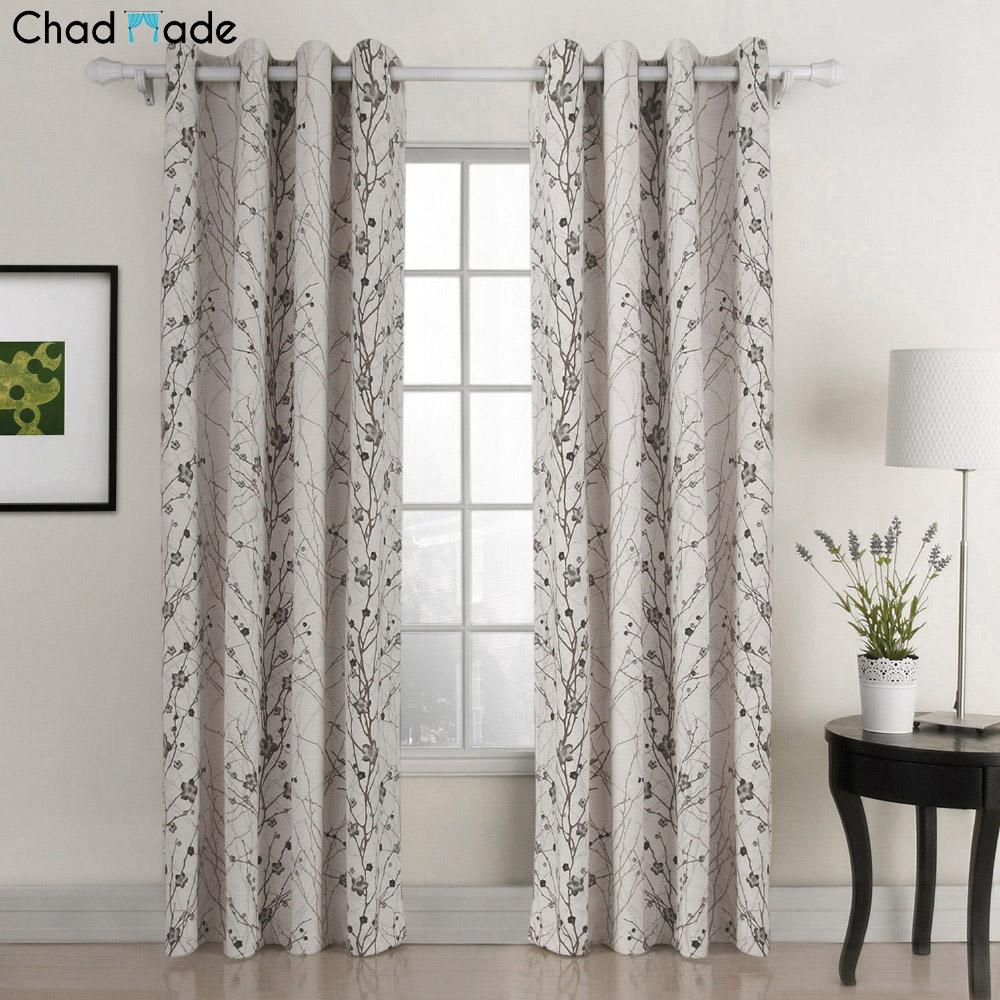 Plum curtains - Chadmade Country Style Plum Blossom Print Blackout Lined Curtain Drape Silver Nickle Grommet 1