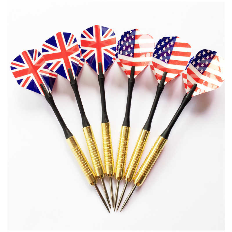 6pcs Professional Steel Tip Darts Set With Two Kind Nice Flag Pattern Tips Points Needle Darts