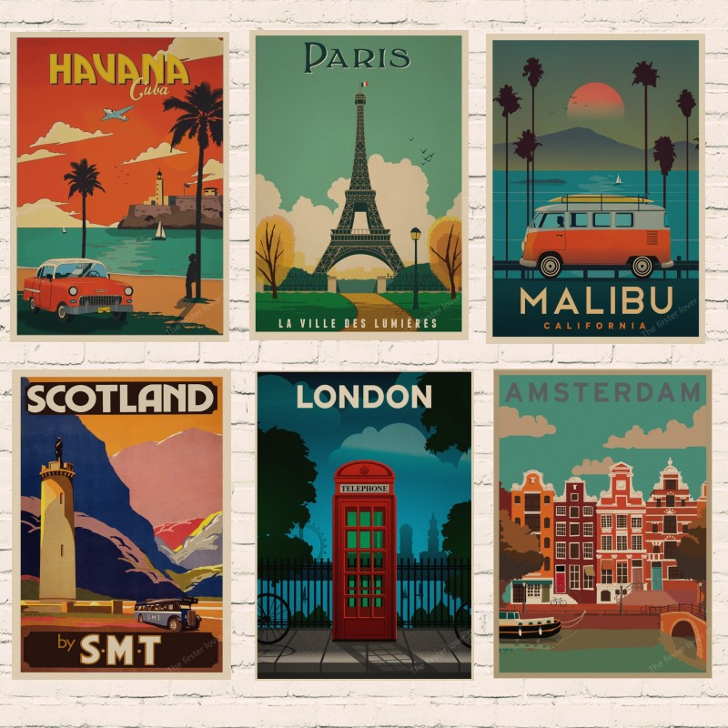 Vintage Travel Paris London Poster Retro Kraft Travel