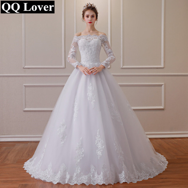 acae56829851a QQ Lover 2019 Off Shoulder Vestido De Noiva Long Sleeves Lace Wedding Dress  With Buttons Plus Size Wedding Gowns