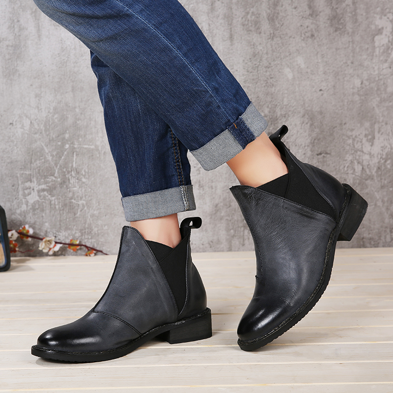 2018 VALLU Shoes Ankle Boots Round Toes Genuine Leather Handmade Retro Women Casual Boots 2018 fashion handmade boots for women genuine leather ankle shoes casual women shoes round toes ladies boots plus size 35 43