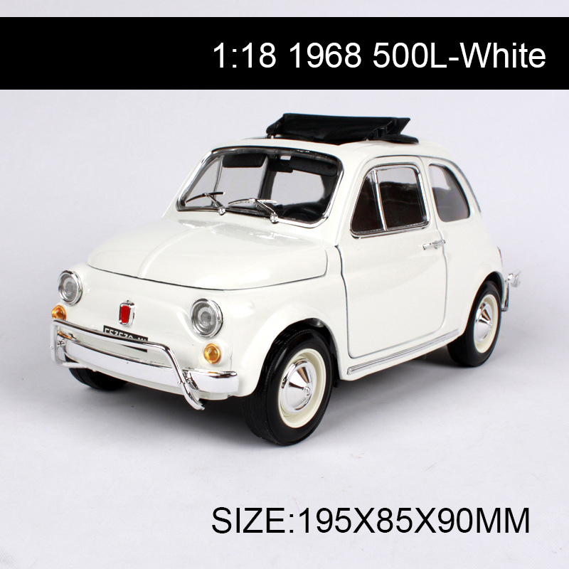 1:18 diecast Car 1968 500L White Classic Cars 1:18 Alloy Car Metal Vehicle Collectible Models toys For Gift Collection maisto jeep wrangler rubicon fire engine 1 18 scale alloy model metal diecast car toys high quality collection kids toys gift