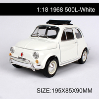1:18 diecast Car 1968 500L White Classic Cars 1:18 Alloy Car Metal Vehicle Collectible Models toys For Gift Collection