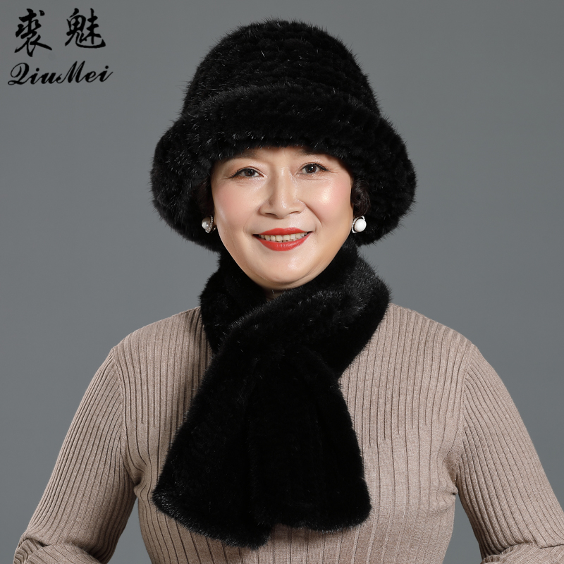 Winter Genuine Mink Fur Bucket Hats And Scarves Set Knitted Women Warm Natural Mink Fur Caps With Straight  Scarf