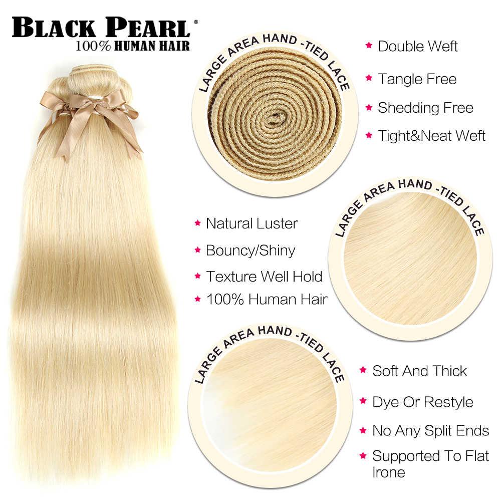Черный жемчуг медовый блонд пучки с закрытием бразильские Remy прямые человеческие волосы 613 пучки с закрытием Бесплатная доставка