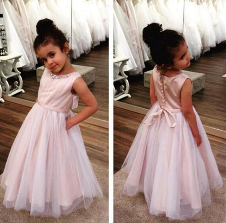 Pink Crystal Ball Gown   Flower     Girl     Dresses   O Neck Tulle Little Bride   Dress   On Sale   Girls   Pageant   Dresses   M1292