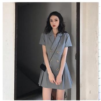 プラスサイズのダブルブレストブレザードレス女性 2019 夏の韓国のミニプリーツドレス女性オフィスエレガントな 5XL 服
