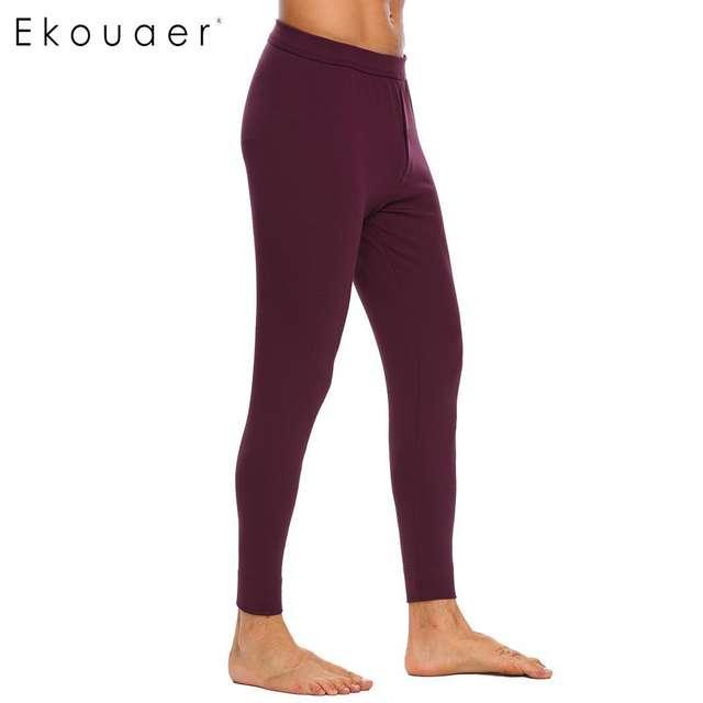 Ekouaer Pajamas Pants Long Johns Sleep Bottoms Solid Elastic Waist Cold Weather Male Leggings Underwear Homewear Clothing S-3XL