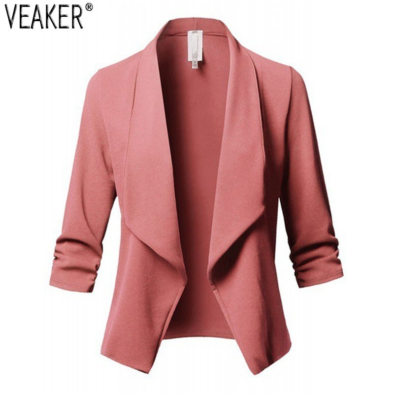 2019 New Women's Autumn Thin Blazer Tops Female Slim Fit Solid Color Long Sleeve Casual Blazers Outerwear Plus Size S-5XL