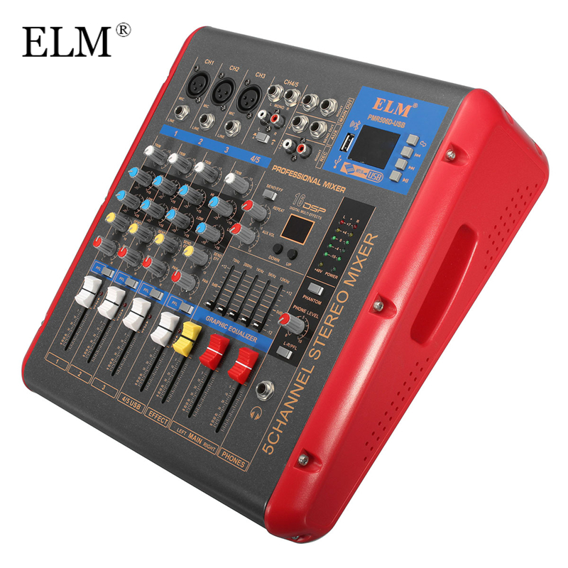 ELM Professional High Quality DJ Digital Mixing Console With Bluetooth USB Mini Sound Mixer For DJ Audio Karaoke Meeting KTV