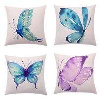 Aquarela Borboleta Capas de Almofada Turquesa Andorinha Borboleta Decorativa Throw Pillow Covers Fronhas Sofá Home Decor