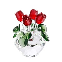 Valentine's Gift for Lady Crystal Cut Glass Flower Figurines Rose Living Room Wedding Xmas Gift Ornaments 4Colors for Choose