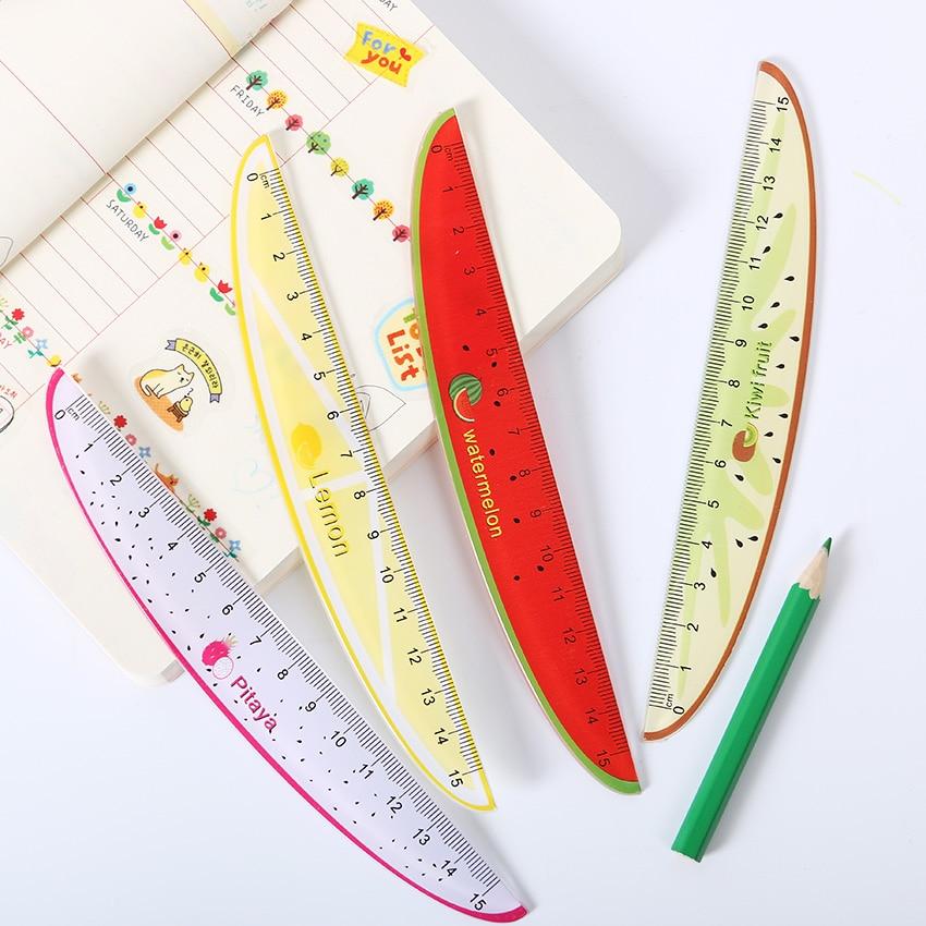 1 шт. 15 см Творческий Фрукты узор пластик линейка прямая Измерительная Линейка Инструмент Офис подарок канцелярские