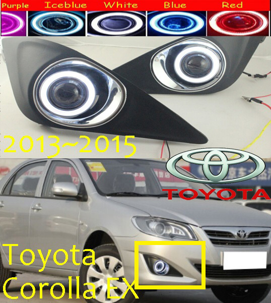 Car-styling,corolla EX fog lamp,2013~2015,chrome,Free ship!2pcs,corolla EX head light,car-covers,Halogen/HID+Ballast;corolla EX 2008 2013year car styling murano headlight free ship chrome murano fog lamp tsuru stagea micra sylphy murano head lamp