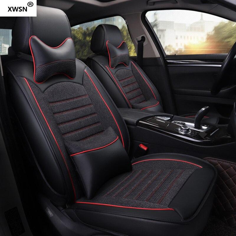 Pu en cuir siège d'auto de lin couverture pour hyundai getz solaris Elantra Tucson veloster creta i20 i30 ix35 i40 Voiture accessoires