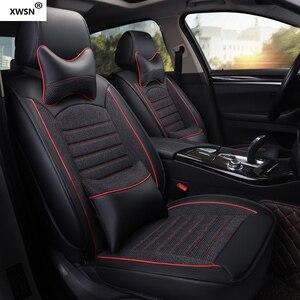 Image 1 - pu leather linen car seat cover for hyundai getz solaris Elantra Tucson veloster creta i20 i30 ix35 i40 Car accessories